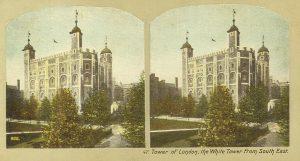 Gammelt billede af Tower of London med fokus på det hvide tårn